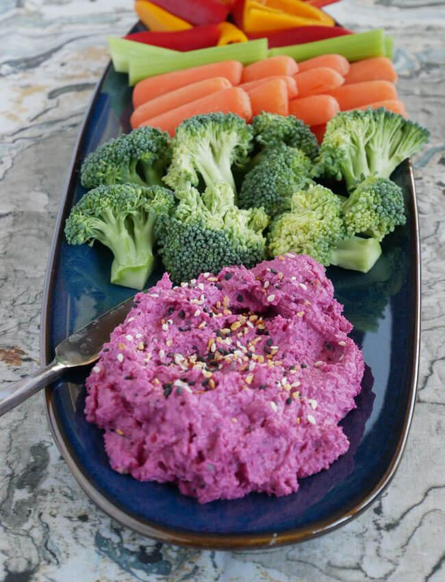 Beet hummus with everything seasoning